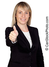 Blonde businesswoman (With a focus on the finger)