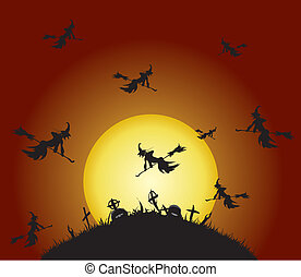 Witches fly on the cemetery, vector