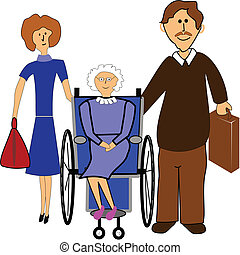helping hands - couple in cartoon style helping elderly lady...
