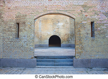 Castle gate and brick wall in Kiev (Kyiv), Ukraine. Kievo -...