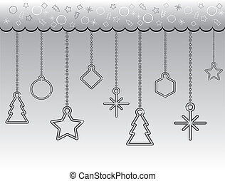 Christmas background (chainlet, fir-tree, circle, rhombus,...