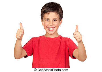 Funny child saying Ok isolated on a over white background