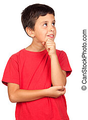Pensive child isolated on a over white background