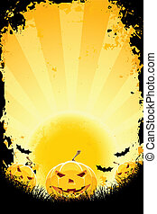 Halloween background with pumpkins bats and full moon