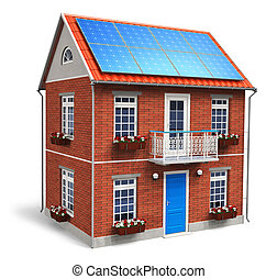 Residential house with solar batteries on the roof isolated...
