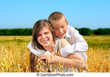 brother and sisier - brother and sister in the wheat field