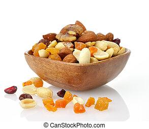 mezclado, secado, fruta, nueces, semillas