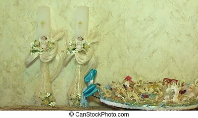 Religious toys - Beautiful religious candle and toy angels...