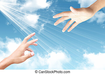 abstract concept hand towards sky, ray of light