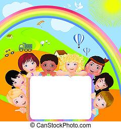 Background with children - Background