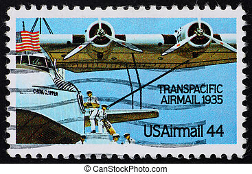 Postage stamp USA 1985 Plane Transpacific airmail - UNITED...