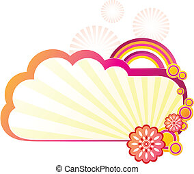 Headline background pattern - Cloud, rainbow flower design