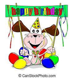 Happy Birthday - Happy birthday with cartoon dog balloons &...