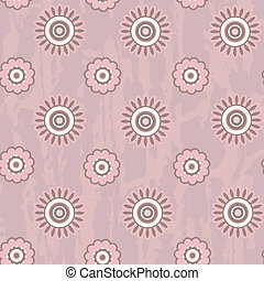 Retro seamless pattern with round flowers