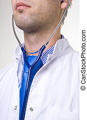 doctor - portrait of a doctor with blue stethoscope
