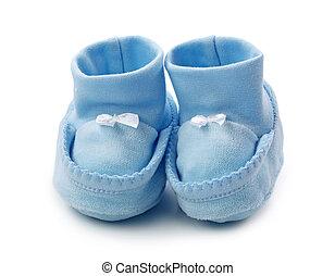 azul, bebê, booties