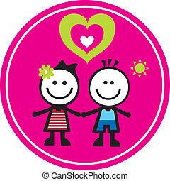 Kids - Girl & Boy holding hands together