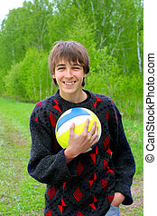 teenager with a ball