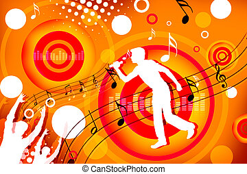 singer - 2d illustration of a man singing on colorful...