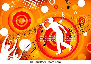 singer - 2d illustration of a man singing on colorful...