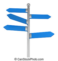 3d blank arrow sign - 3d Blank arrow sign on white...