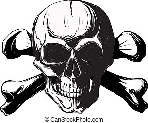 skull and cross bones - human skull and bones. Pirate symbol...
