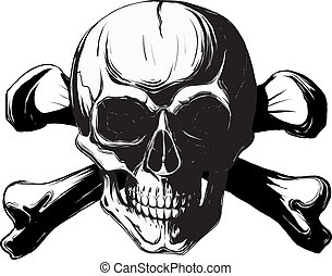 skull and cross bones - human skull and bones Pirate symbol...