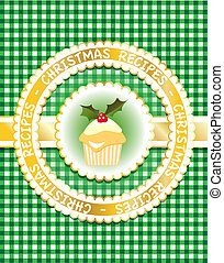 Christmas Recipe book, green - Gingham Christmas recipe book...