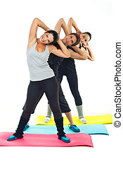 Sport people team doing fitness exercise - Sport people team...