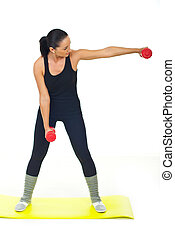 Female doing exercise with dumbbell