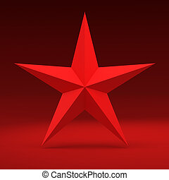Red star - Big red five-pointed star on the red background