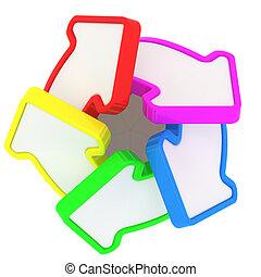 Multicolored swirl - Five arrows in multicolored swirl...