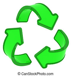 Recycling sign - Circle of three green arrows, recycling...