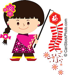 Chinese new year girl  - Play fire cracker