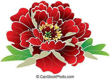 chino, nuevo, año, flor