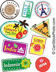 world country sticker set