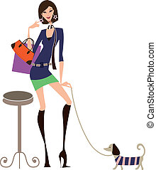 Shopping Woman - Illustration -Woman walking the dog and...