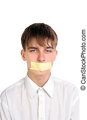 teenager with mouth sealed isolated on the white