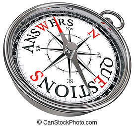answers vs questions concept compass with black red letters...