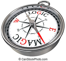 logic versus magic concept compass isolated on white...