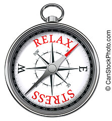 relax stress red words on compass conceptual image