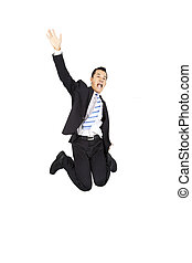 happy asian businessman jumping and isolated