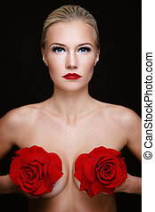 Woman's health - Portrait of young beautiful slim sexy woman...