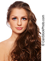 Healthy hair - Portrait of young beautiful woman with...