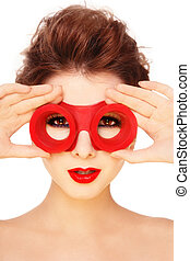 Goggles - Yong beautiful girl with stylish make-up and...