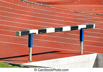 Hurdle in an Athletics Running Track - Detail of an hurdle...