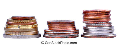 Three Piles of Coins - Three piles of coins next to each...