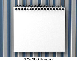 White blank notepad over striped wallpaper