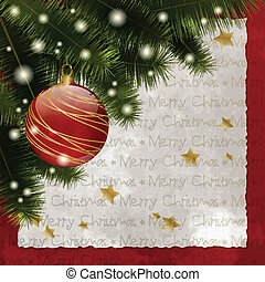 Merry Christmas 2 - Retro Christmas background with pine,...
