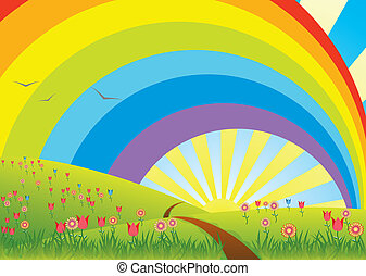 rural landscape with rainbow - vector rural landscape with...